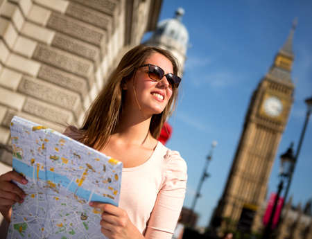 Woman sightseeing in London on a summer day  Stock Photo - 15515610