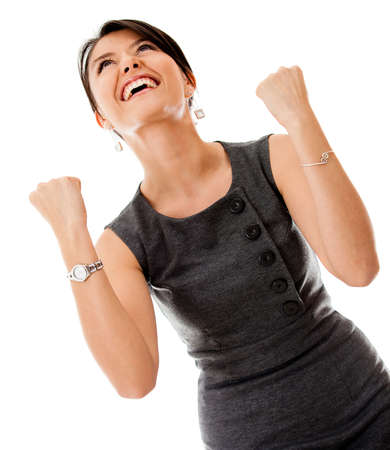 Successful business woman looking very excited - isolated over a white background  photo