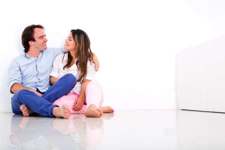 Loving couple at home enjoying time together  photo