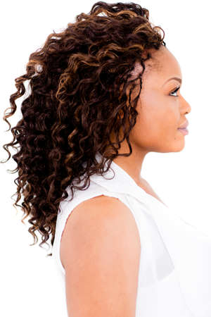 afro hairdo: Black woman with an afro - isolated over a white background