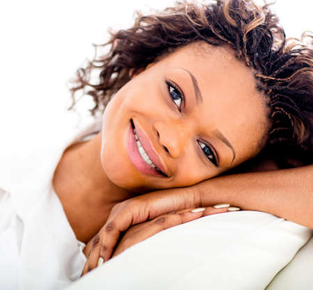 Portrait of a lovely black woman smiling  Stock Photo - 15450642