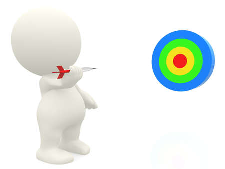 3D man playing darts - isolated over a white background  photo