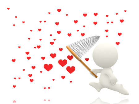 3D man catching hearts with a net - isolated over a white background  photo