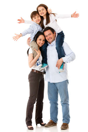 family looking up: Family with arms up looking very happy - isolated over white Stock Photo