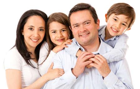 familias unidas: Hermosa familia feliz - aislado sobre un fondo blanco