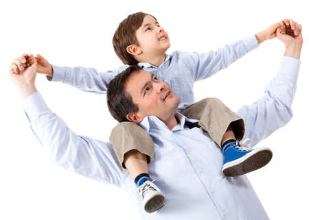shoulder ride: Happy father with his son - isolated over a white background  Stock Photo