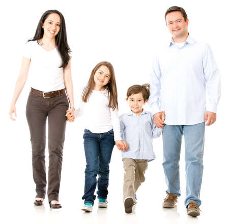 family walking: Happy family walking and holding hands - isolated over white