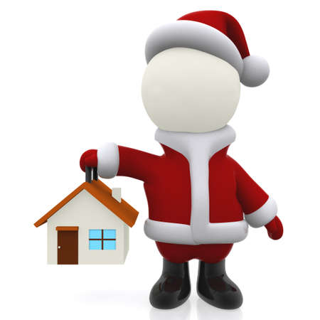 christmassy: 3D Santa holding a house for Christmas - isolated over white  Stock Photo