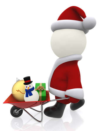 3D Santa pushing a wheelbarrow with Christmas stuff - isolated over white  photo