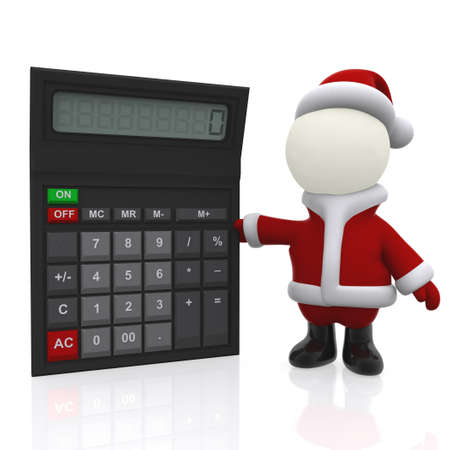 3D Santa with a calculator - isolated over a white background photo