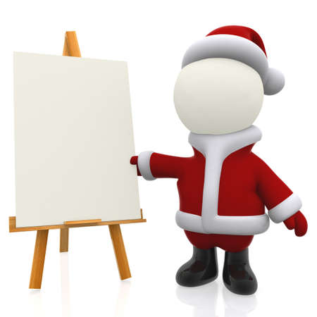3D Santa painting on a easel - isolated over a white background  photo