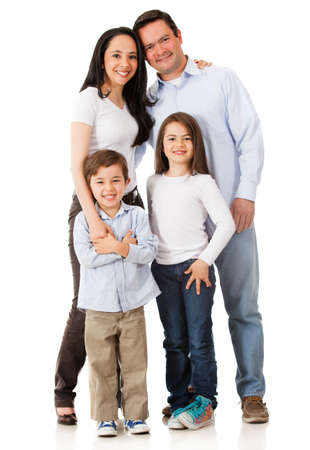 Happy family smiling together - isolated over a white background photo