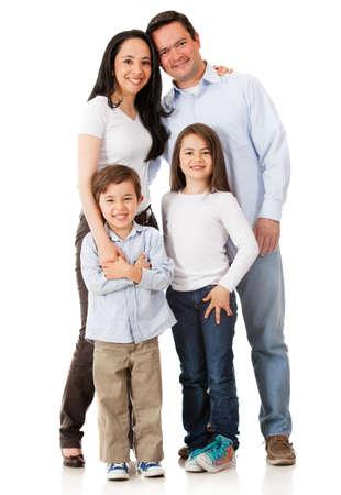fondo blanco: La familia feliz sonriendo juntos - aislados en un fondo blanco