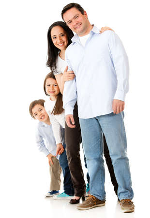 latin woman: Beautiful family together - isolated over a white background