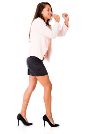 Business woman pulling imaginary rope - isolated over a white background  photo