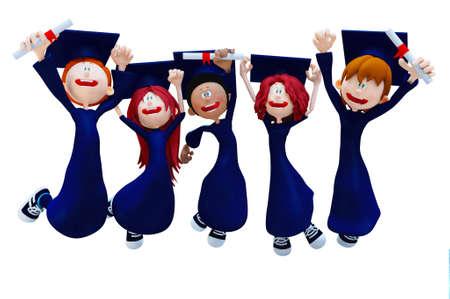 degree: Graduazione gruppo 3D celebrando - isolato su uno sfondo bianco
