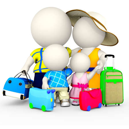 happy family isolated: 3D family going on vacations - isolated over a white background