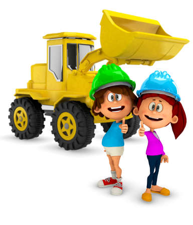 3D young construction workers with a bulldozer - isolated over white  photo