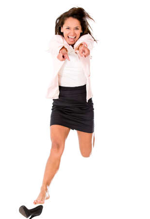 skirts: Excited business woman jumping - isolated over a white background