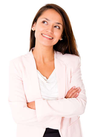 woman looking up: Business woman daydreaming - isolated over a white background