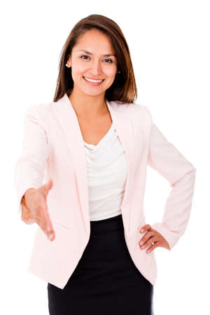 extending: Business woman extending her hand to handshake - isolated over white Stock Photo