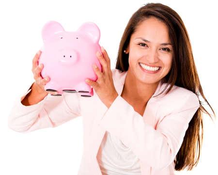 coinbank: Mujer de negocios ahorrar dinero en una alcanc�a - aislados en un fondo blanco