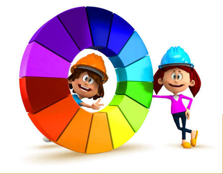 3D kids with a color chart having fun - isolated over white  photo