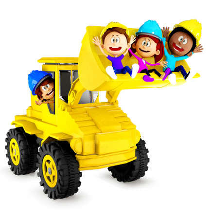 backhoe: 3D kids playing with a bulldozer and looking very happy