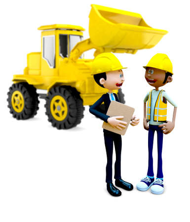 3D Construction workers - isolated over a white background  photo