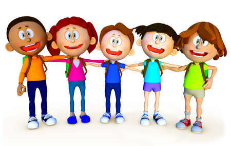 3D group of school kids - isolated over a white background  photo