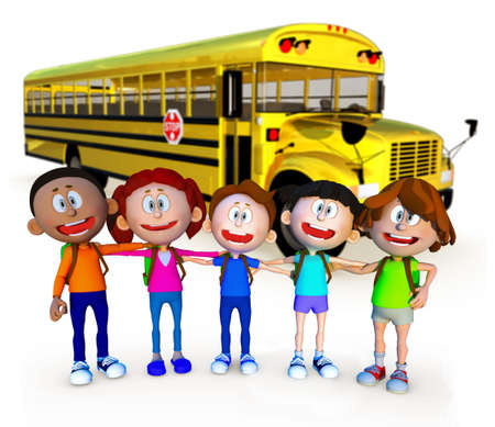 3D guys going to school by bus - isolated over a white background  photo