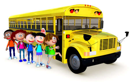3D Kids going to school by bus - isolated over a white background  photo