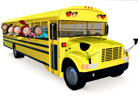 3D kids in a school bus having fun - isolated over white  photo