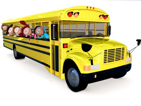 transporte escolar: Ni�os 3D en un autob�s escolar que se divierten - aislada sobre blanco Foto de archivo