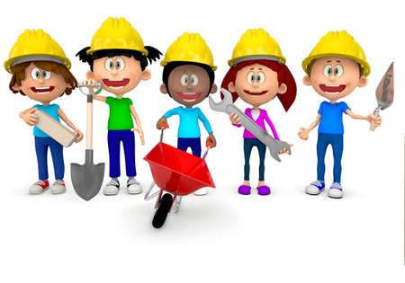 carretilla: Kids 3D que trabajan en la construcci�n y uso de cascos - aislados en blanco