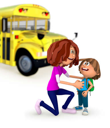 3D Mother sending kid off to school - isolated over a white background  photo