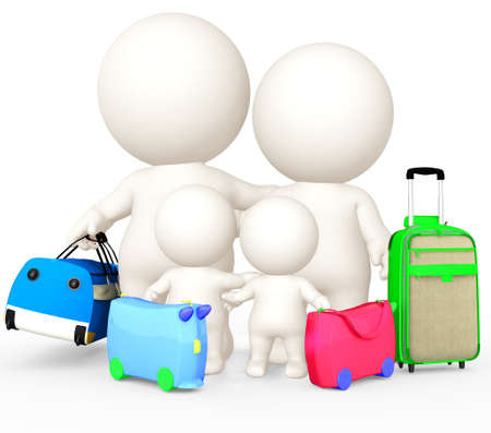 family vacations: 3D family going on holidays - isolated over a white background  Stock Photo