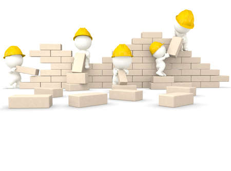 construction worker cartoon: 3D construction guys building a wall - isolated over a white background