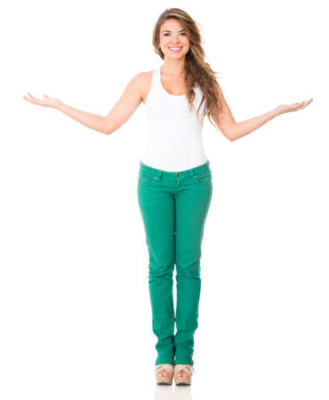 Friendly welcoming woman with arms open - isolated over a white background  Stock Photo - 16194038