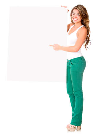 Beautiful woman holding a banner - isolated over a white background  Stock Photo - 16194039