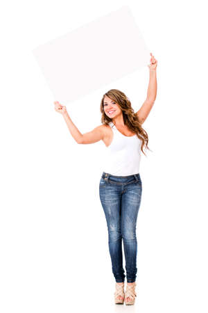 ove: Happy woman with a banner - isolated ove a white background