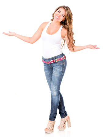 open girl: Welcoming woman with open arms - isolated over a white background  Stock Photo