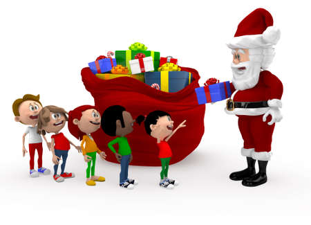 queuing: 3D Santa giving Christmas presents to a group of kids queuing - isolated