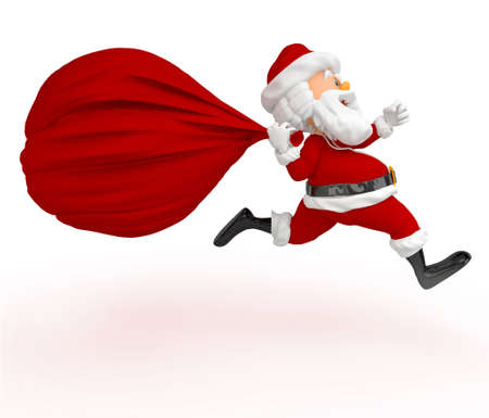 3D Santa running late with a gift sack - isolated over white  photo