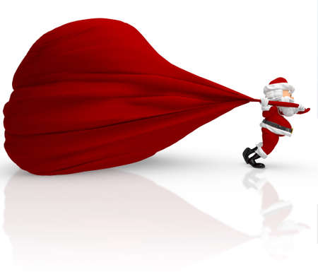 3D Santa carrying a heavy gift sack - isolated over white background  photo