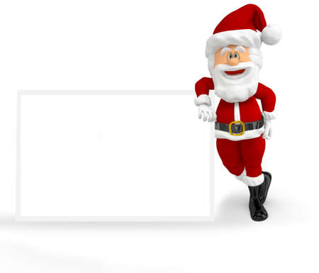 3D Santa with a banner - isolated over a white background Stock Photo - 16375263