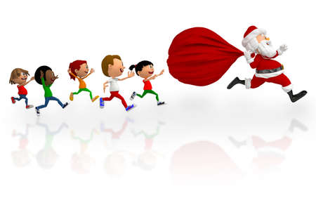 3D kids chasing after Santa to get Christmas presents - isolated over white  photo