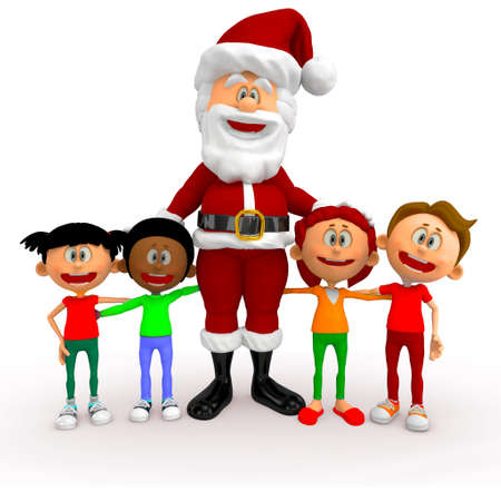 3D Santa with a group of kids at Christmas - isolated over white  Stock Photo - 16375280
