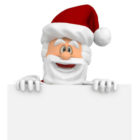 3D Happy Santa with a Christmas banner - isolated over a white background Stock Photo - 16375279