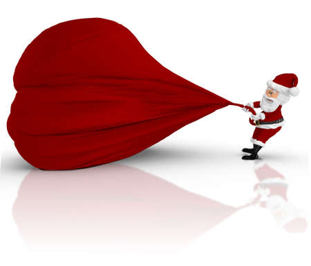 3D Santa pulling a gift sack - isolated over a white backgorund  photo